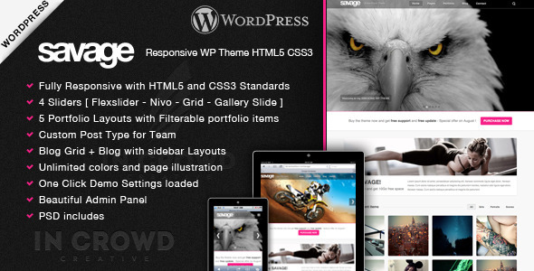 Savage – Responsive WordPress Theme